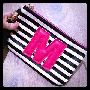 Betsey Johnson wristlet with an M